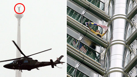 """Spiderman"" erklimmt Petronas-Türme (Bild: EPA)"