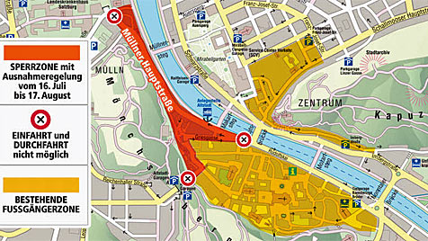 """Altstadt-Sperre im Sommer für Verkehr in Salzburg ist fix (Bild: """"Krone""""-Grafik)"""