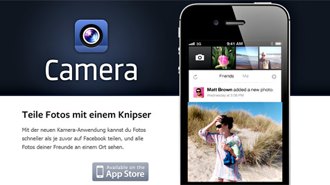 "Facebook startet eigene Foto-App ""Camera"" (Bild: Screenshot Facebook)"