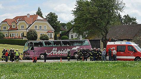 Busunglück in NÖ: Lenker und vier Kinder im Spital (Bild: APA/PAUL PLUTSCH)