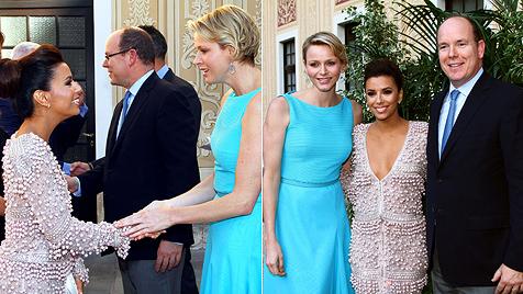Eva Longoria trifft Prinz Albert und seine Charlene (Bild: AFP)