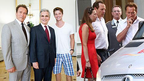 Schwarzenegger-Sohn in Shorts beim Bundeskanzler (Bild: HBF/ANDY WENZEL, Starpix/Alexander Tuma)