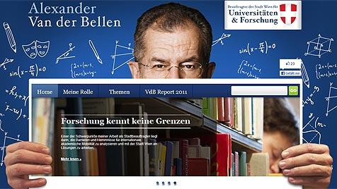 Zoff in Wien wegen Steuergeld für Van-der-Bellen-Website (Bild: Screenshot vanderbellen.at)