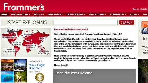 """Google steigt ins Geschäft mit Reisetipps ein (Bild: Screenshot Frommer""""s)"""