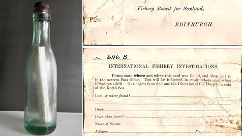 Flaschenpost trieb fast 98 Jahre im Meer (Bild: dapd/AP/Scottish Government)