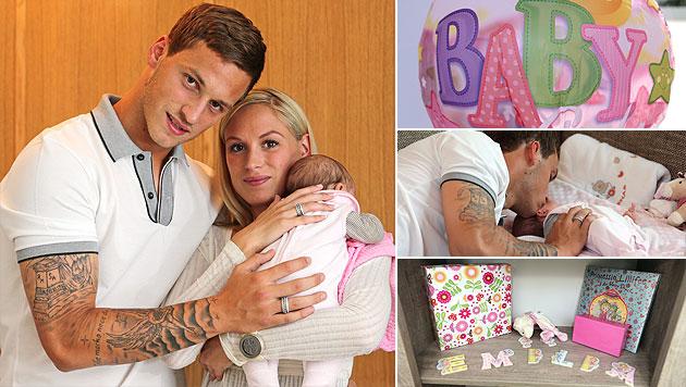 Fußballer Marko Arnautovic zeigt erstmals sein Baby (Bild: Reinhard Holl)