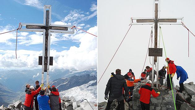 Sbg: Großvenediger hat sein Gipfelkreuz wieder zurück (Bild: APA/BERGRETTUNG PRÄGRATEN A.G.)