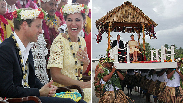 Letzter Stopp der Royal-Tour: William und Kate in Tuvalu (Bild: AFP)
