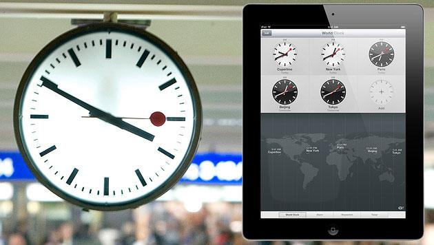 iOS 7: Schweizer Bahnhofsuhr verschwindet vom iPad (Bild: dapd, apple.com)