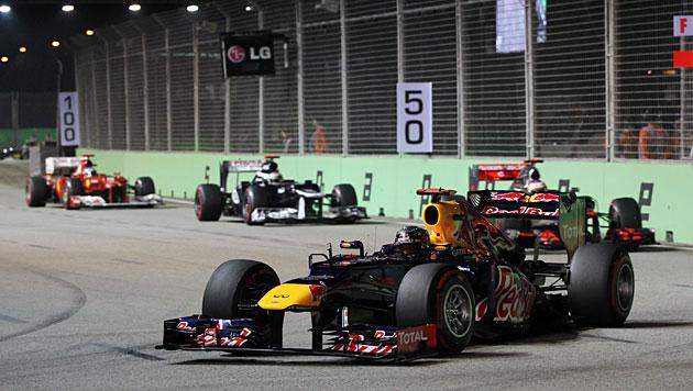 Vettel gewinnt vor Button und WM-Leader Alonso (Bild: dapd)