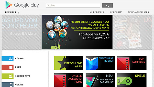 Google feiert 25 Milliarden Android-App-Downloads (Bild: Google Play)