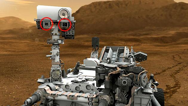 """Die MastCam von """"Curiosity"""" (rechte und linke Kamera rot markiert) (Bild: NASA/JPL-Caltech)"""