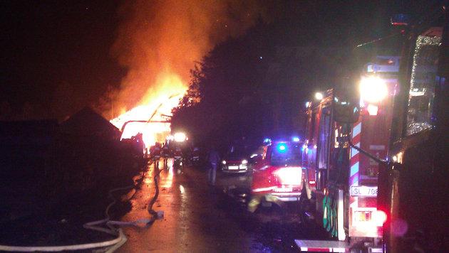 Sägewerk in Hof bei Salzburg ging in Flammen auf (Bild: APA/LFV SBG./AFK BR SLAVICEK)