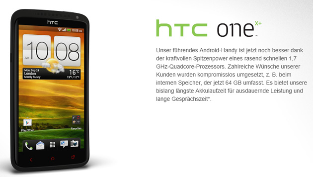 HTC bleibt mit neuem One X+ Android treu (Bild: Screenshot HTC)