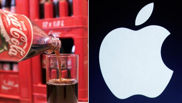 Apple macht Coca-Cola Spitzenplatz streitig (Bild: dapd,AP,krone.at-Grafik)