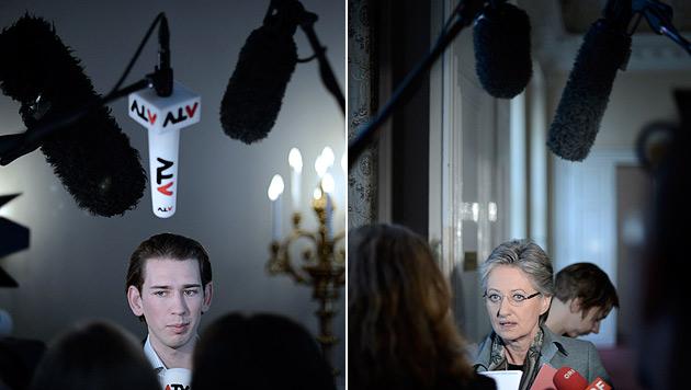 Kurz wirft SPÖ-Ministerin Sabotage seiner Projekte vor (Bild: APA/HANS KLAUS TECHT)