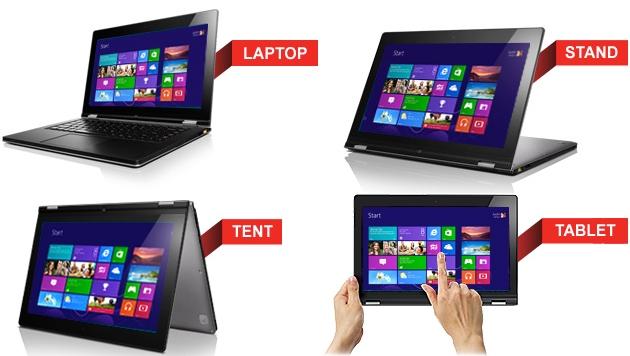 Vier Hybride aus Laptop und Tablet von Lenovo (Bild: Lenovo)