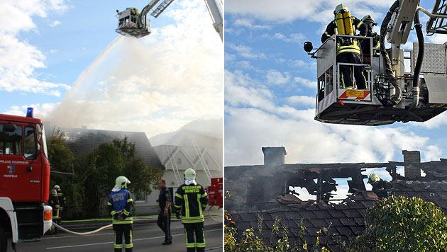 Hausbrand in NÖ: Zwei Buben retten sich aufs Dach (Bild: Christian Ulreich/BFKDO Lilienfeld; Thomas Teis/BFKDO Lilienfeld)