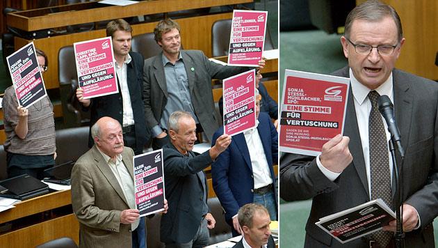 """Protest-Sujets nach 1 Monat plötzlich """"Menschenhatz"""" (Bild: APA/ROLAND SCHLAGER)"""