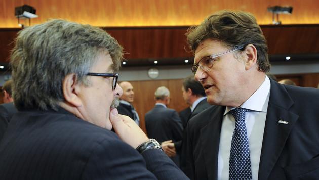 Karl Proyer (GPA-djp) und Rainer Wimmer (ProGe) (Bild: APA/Herbert Neubauer)