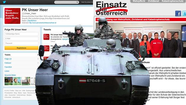 Die Schlacht um die Wehrpflicht tobt auch im Internet (Bild: APA/GEORG HOCHMUTH, Screenshot)