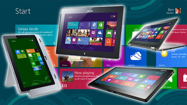 Windows-8-Tablets in den USA bisher kaum zu bekommen (Bild: Microsoft, Acer, Lenovo, Samsung, krone.at-Grafik)