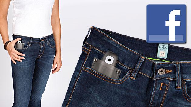 """Mit """"Social Denim"""" geht Facebook jetzt auch in die Hose (Bild: Replay, facebook.com, krone.at-Grafik)"""
