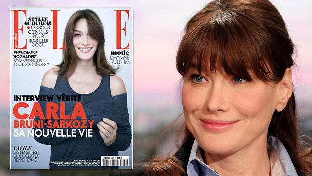 """Carla Brunis Cover-Comeback auf der aktuellen """"Elle"""" (Bild: EPA, Elle)"""