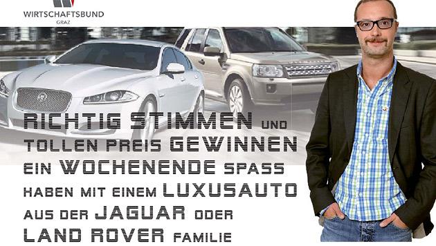 VP-Graz-Mandatar verspricht Jaguar für Vorzugsstimme (Bild: Wirtschaftsbund Graz)