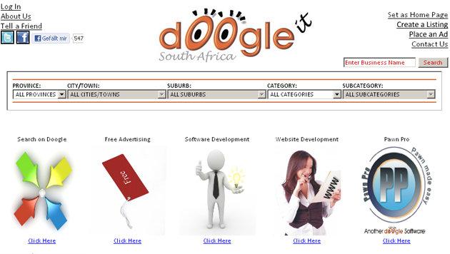 Markenstreit: Google will Schul-Abbrecher klagen (Bild: Screenshot, doogle.co.za)