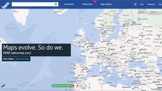 """Nokia-Kartendienst """"Here"""" für Apples iOS erhältlich (Bild: Nokia)"""