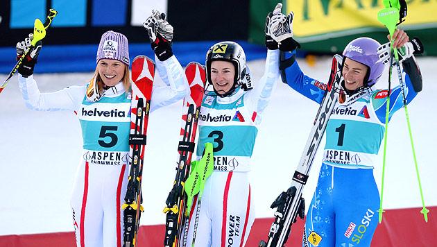 ÖSV-Doppelsieg durch Kathrin Zettel und Marlies Schild (Bild: EPA)