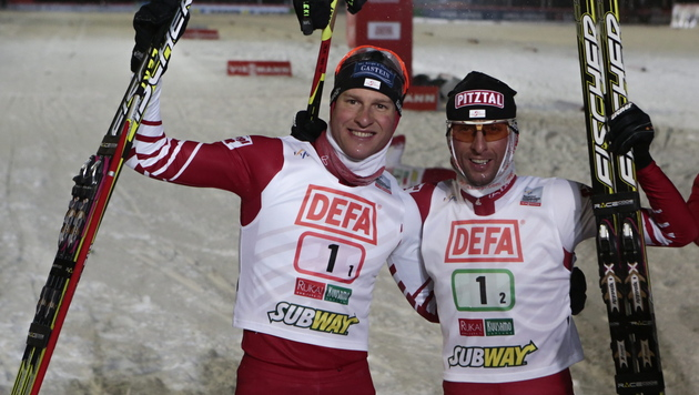 Team-Sprint in Kuusamo an ÖSV-Duo Stecher/Gruber (Bild: EPA)