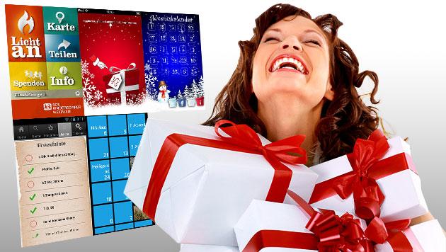 Die besten Handy-Apps für die Weihnachtszeit (Bild: thinkstockphotos.de, Hersteller, krone.at-Grafik)