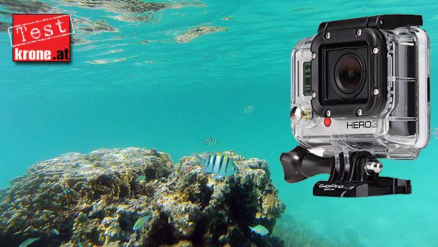 Action-Kamera GoPro Hero 3 im krone.at-H�rtetest (Bild: GoPro, krone.at, krone.at-Grafik)