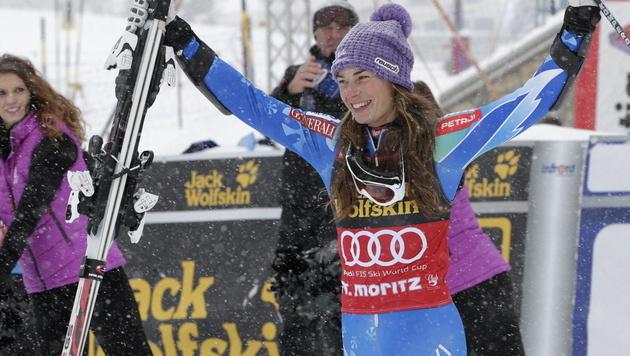 Tina Maze gewinnt Super-Kombi vor Hosp und Zettel (Bild: EPA)