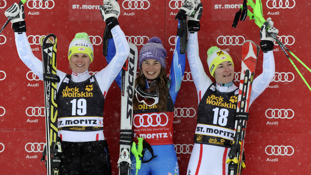 Tina Maze gewinnt Super-Kombi vor Hosp und Zettel (Bild: AP)