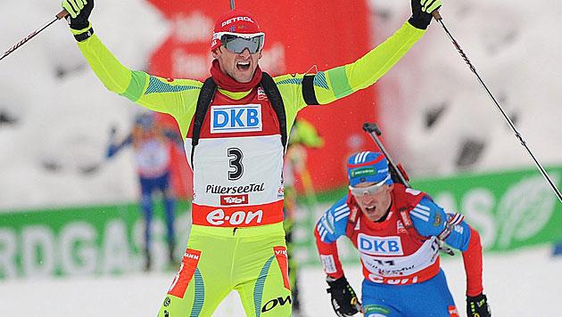 Biathlon-Heimsieg für Slowenen Fak, Eder Neunter (Bild: EPA)