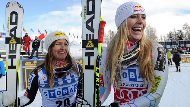 Vonn holt Super-G in St. Moritz vor Maze, Köhle Achte (Bild: dapd)