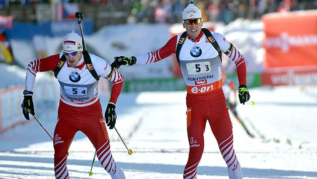 Österreichs Biathleten in Staffel nur auf Rang 5 (Bild: APA/Barbara Gindl)