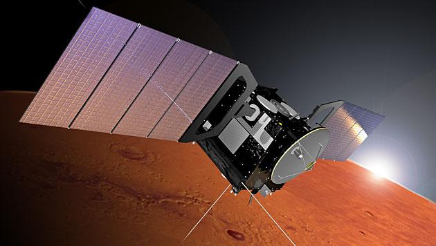 """Künstlerische Illustration: Die ESA-Raumsonde """"Mars Express"""" (Bild: ESA/Alex Lutkus)"""