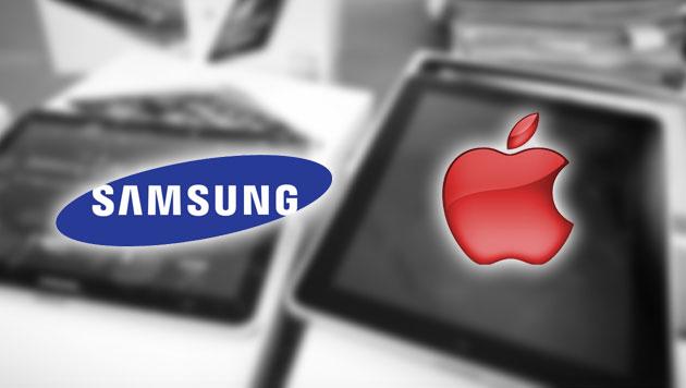 Apple und Samsung streiten um Schadenersatzhöhe (Bild: EPA, samsung.com, apple.com, krone.at-Grafik)
