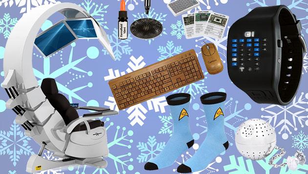 Die schrägsten Geschenkideen für Technik-Freaks (Bild: thinkstockphotos.de, Hersteller, krone.at-Grafik)