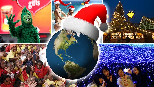 Wie rund um die Welt Weihnachten gefeiert wird (Bild: thinkstockphotos.de, dapd, krone.at-Grafik)