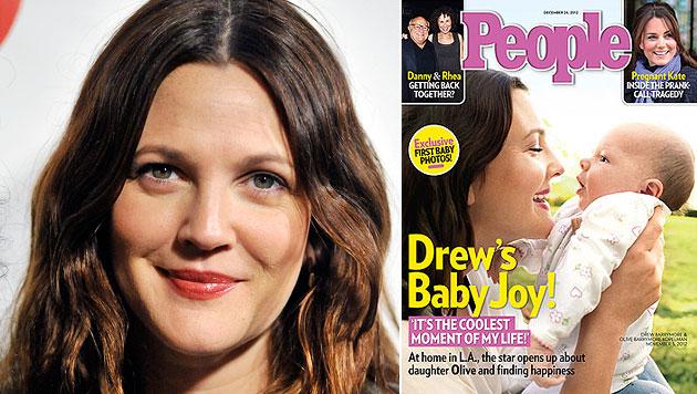 Drew Barrymore zeigt erstmals Töchterchen Olive (Bild: dapd, People)
