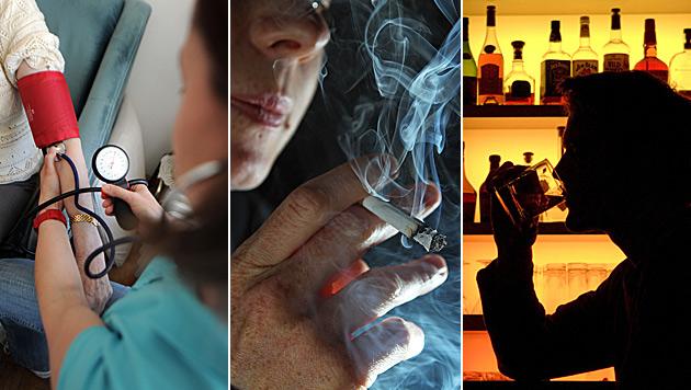 Blutdruck, Rauchen, Alkohol machen am h�ufigsten krank (Bild: APA/BARBARA GINDL, APA/GEORG HOCHMUTH, dpa/A3818 Klaus-Dietmar G)
