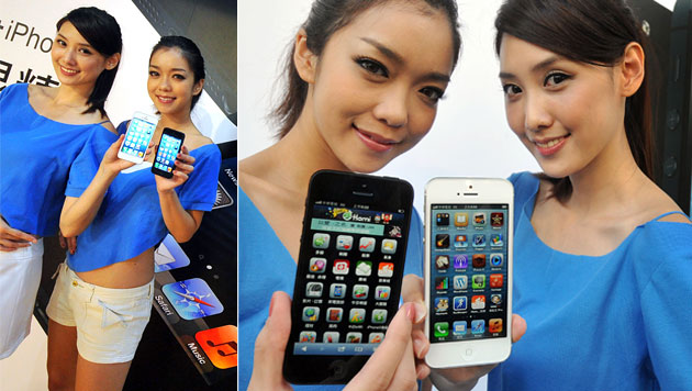 Erfolgreicher Start für Apples iPhone 5 in China (Bild: AFP, krone.at-Grafik)