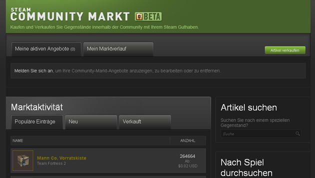 Steam: Verkauf virtueller G�ter gegen echtes Geld (Bild: Screenshot, Steam Community Market)