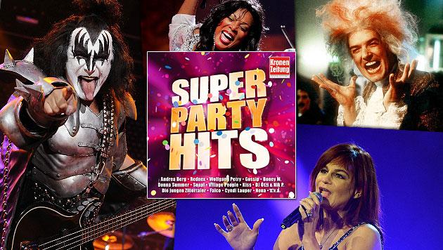 """Die """"Krone Super Party Hits"""" sorgen für Feierstimmung (Bild: Sony Music, Andreas Graf, EPA, ZDF)"""