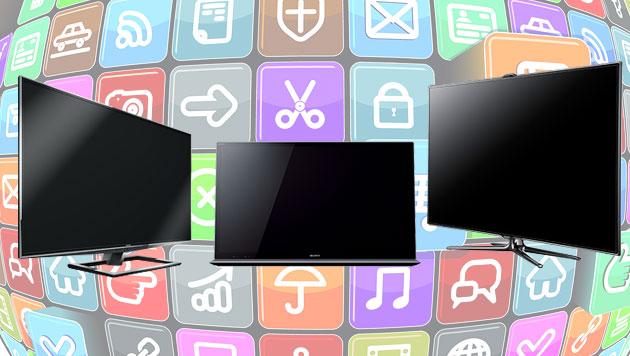 Egal welche Größe: Smart-TVs von Samsung Testsieger (Bild: thinkstockphotos.de, Toshiba, Sony, Samsung)